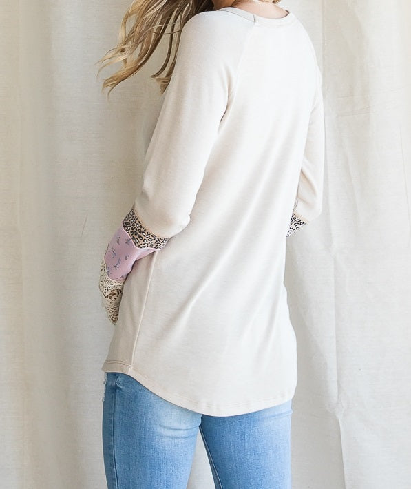 These Are Days Color Block Sleeve Top in Beige