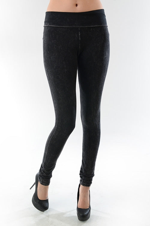 Mineral Wash Leggings in Black - Bottom - MIA Boutique LLC