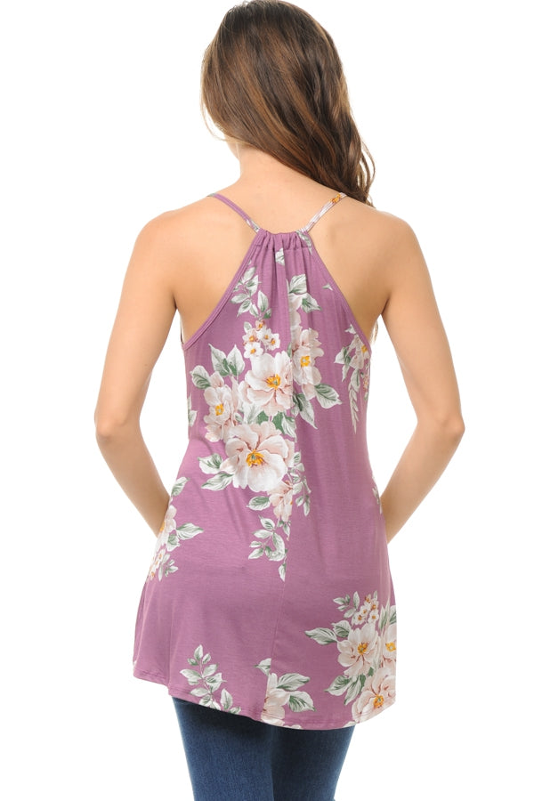 Summer Staycay Floral Tunic Tank in Lavender - MIA Boutique LLC