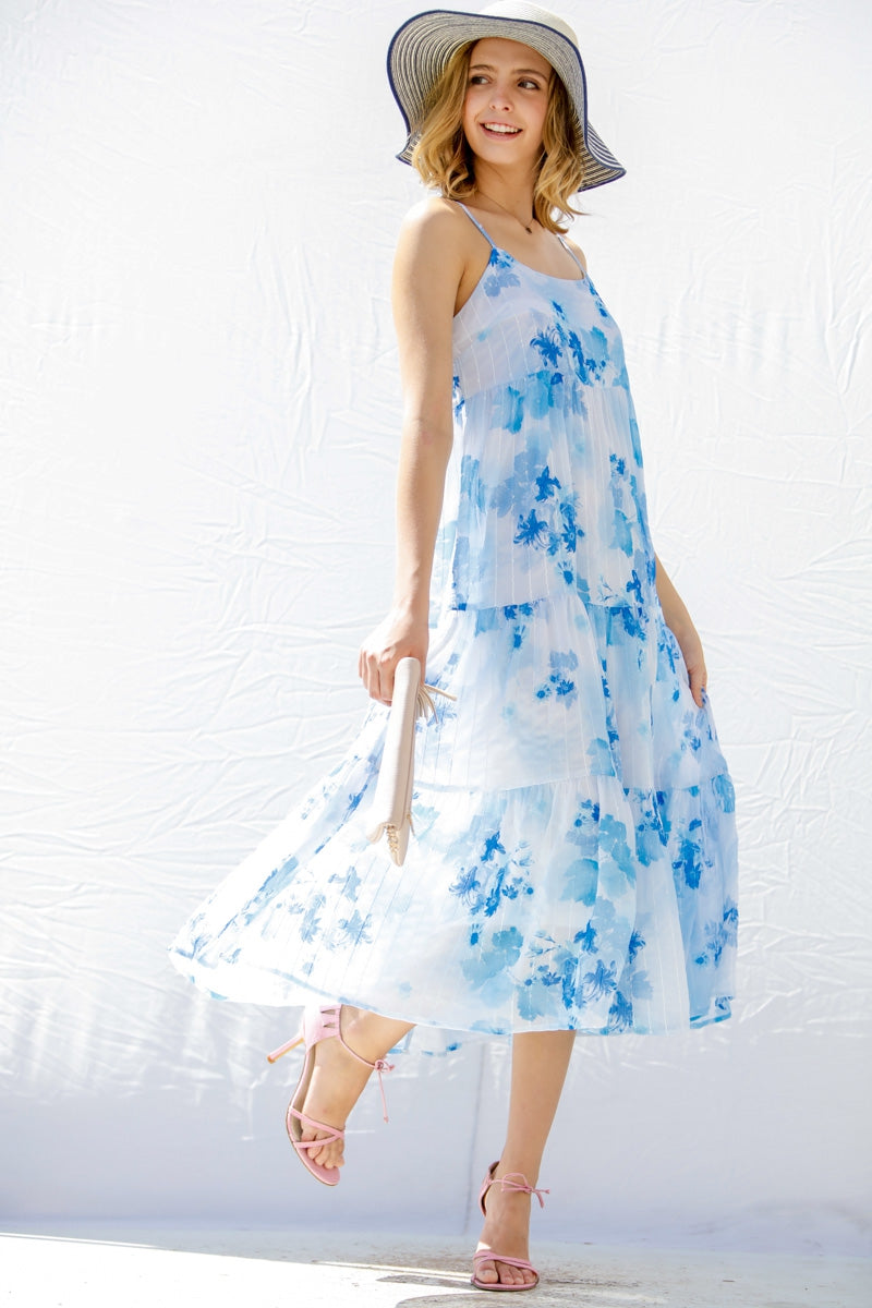 Cool Breezes Floral Tiered Dress in Light Blue - Dress - MIA Boutique LLC
