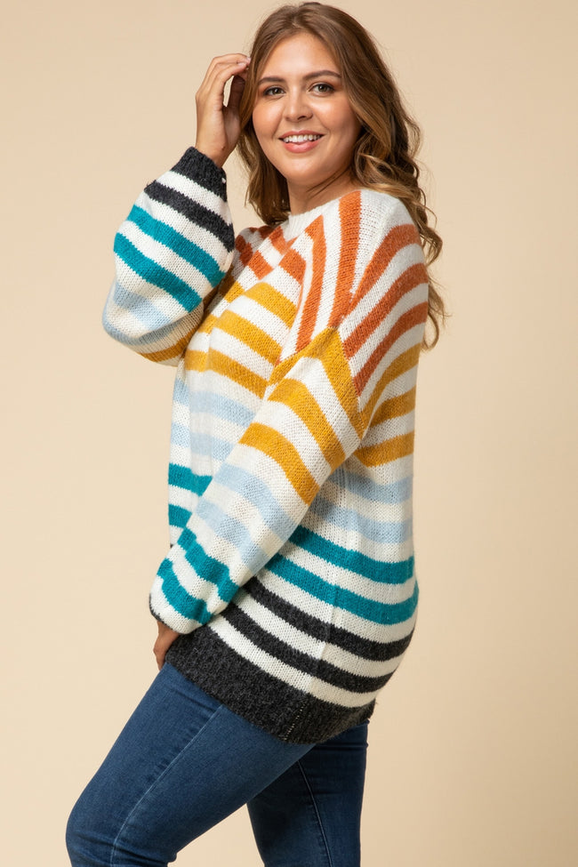 Multi-Striped Sweater - MIA Boutique LLC