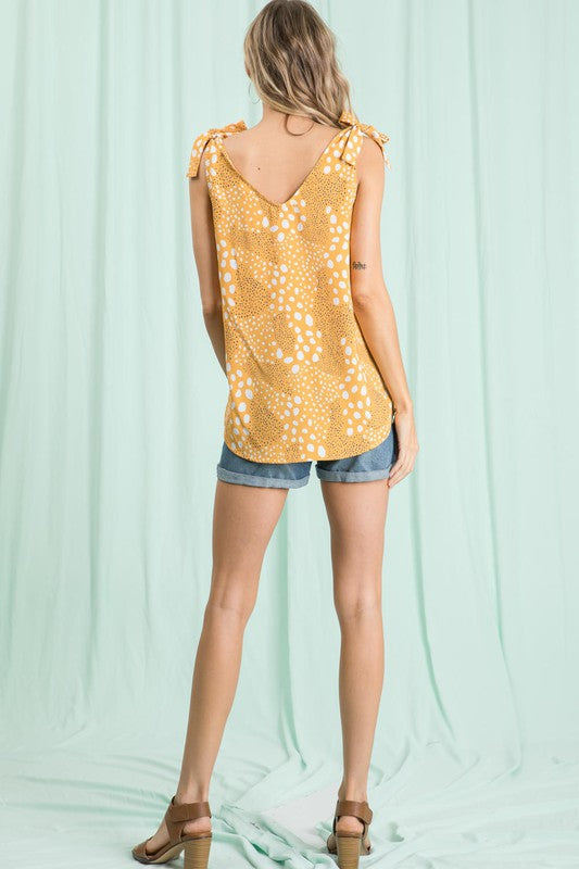 Give it Your Best Dot Tank in Golden Yellow - Top - MIA Boutique LLC