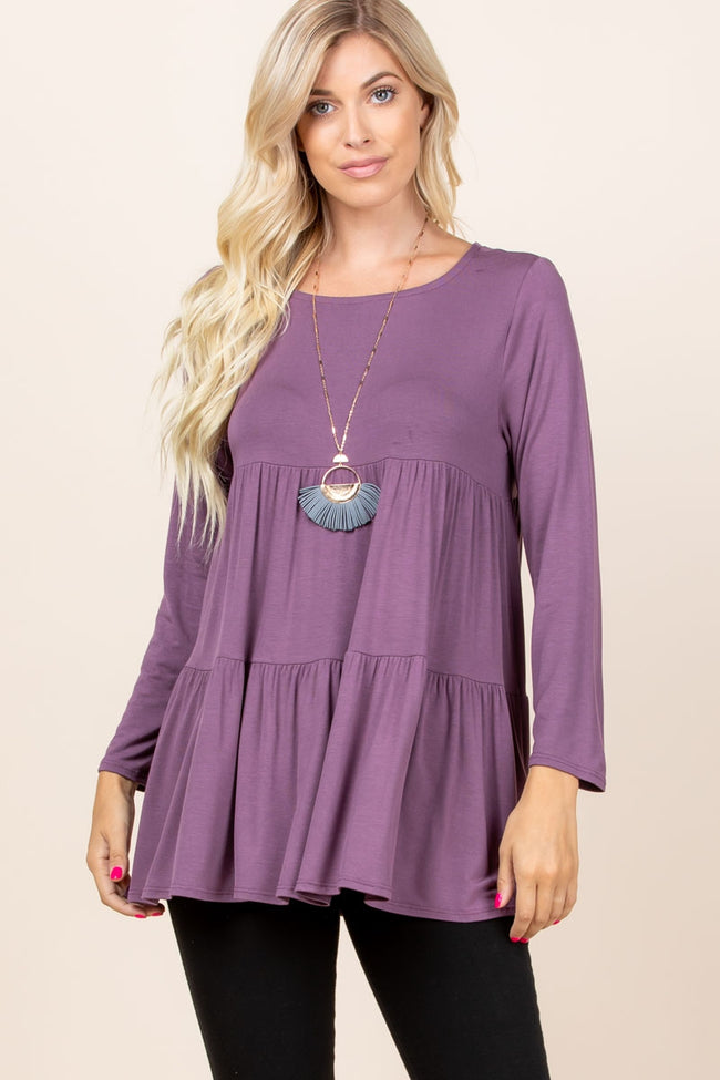 Bringing Smiles Tunic in Mulberry - Top - MIA Boutique LLC