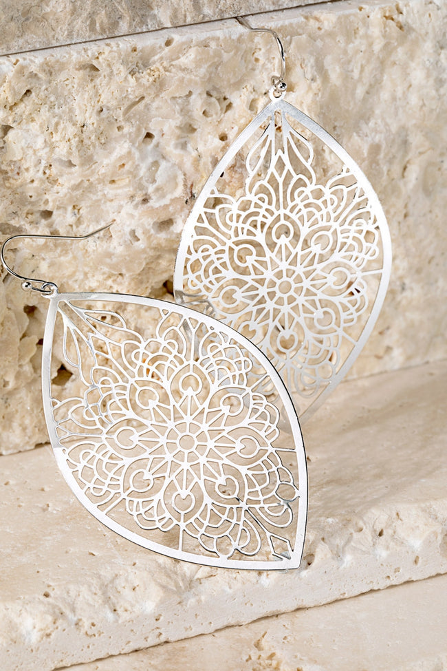 Silver Floral Filigree Earrings - Accessory - MIA Boutique LLC