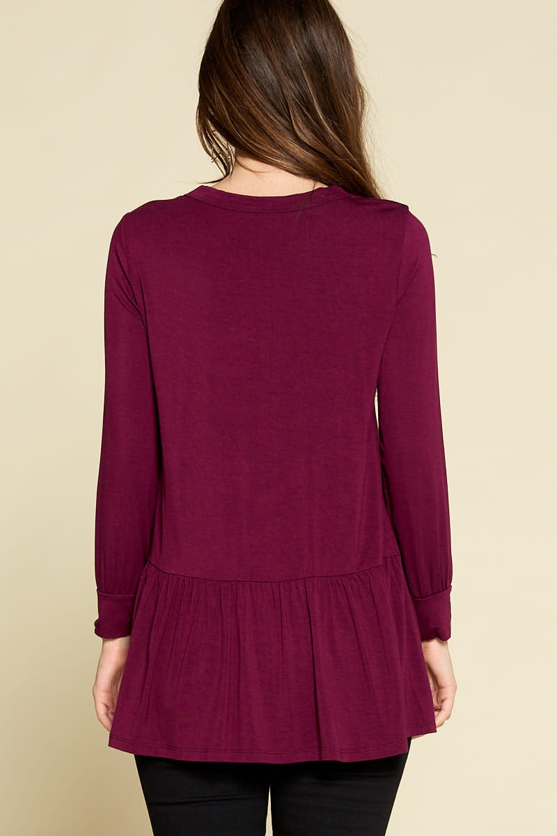 All For Fall Button Tunic in Plum