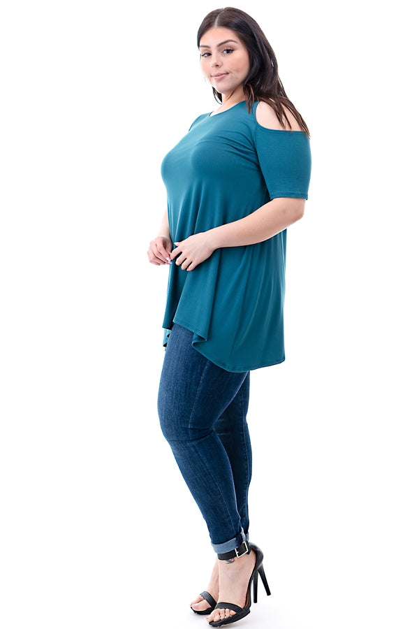 The Anna Tunic in Teal - Curvy - Top - MIA Boutique LLC