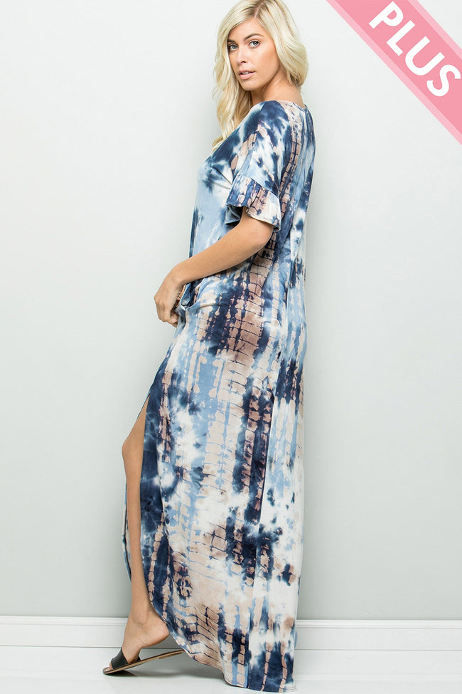 On Vacay Time Tie Dye Maxi Dress in Denim Blue - Curvy - Dress - MIA Boutique LLC