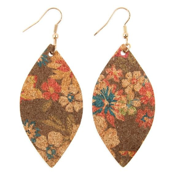 Cork Floral Marquis Earrings in Brown - Accessory - MIA Boutique LLC