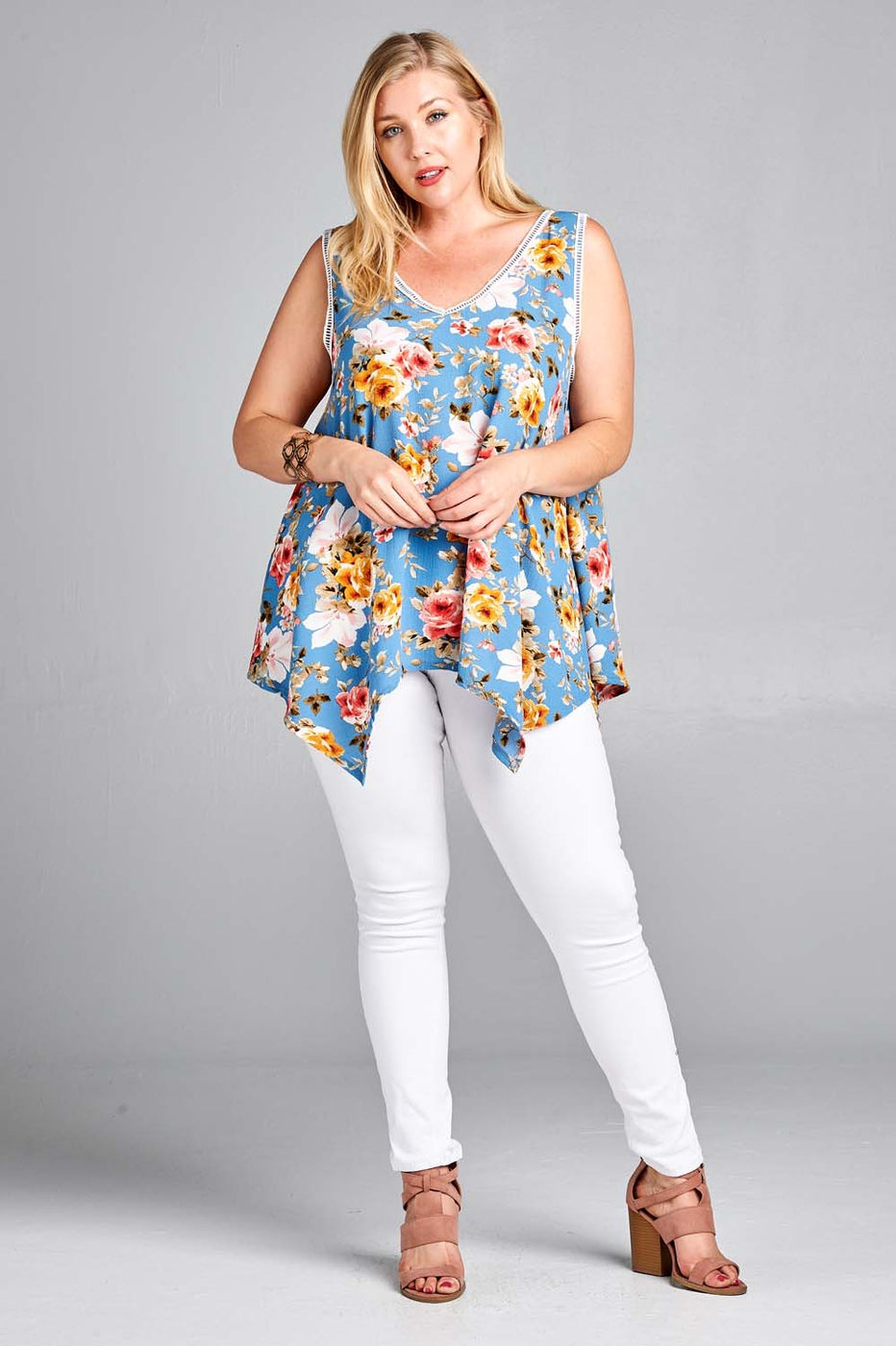 Garden Goddess Tunic in Denim Blue - Curvy - Top - MIA Boutique LLC