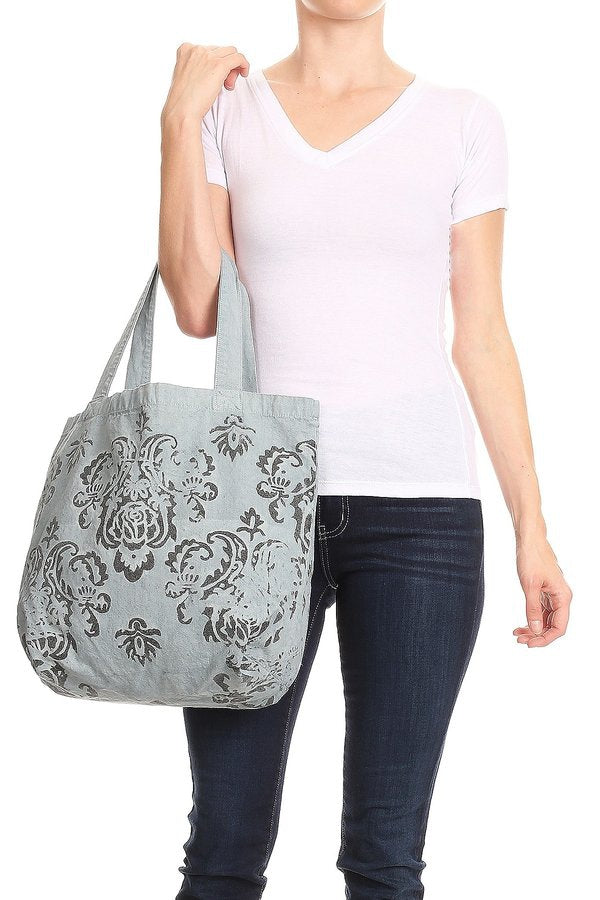 Belle Fleur Hand Painted Tote - MIA Boutique LLC