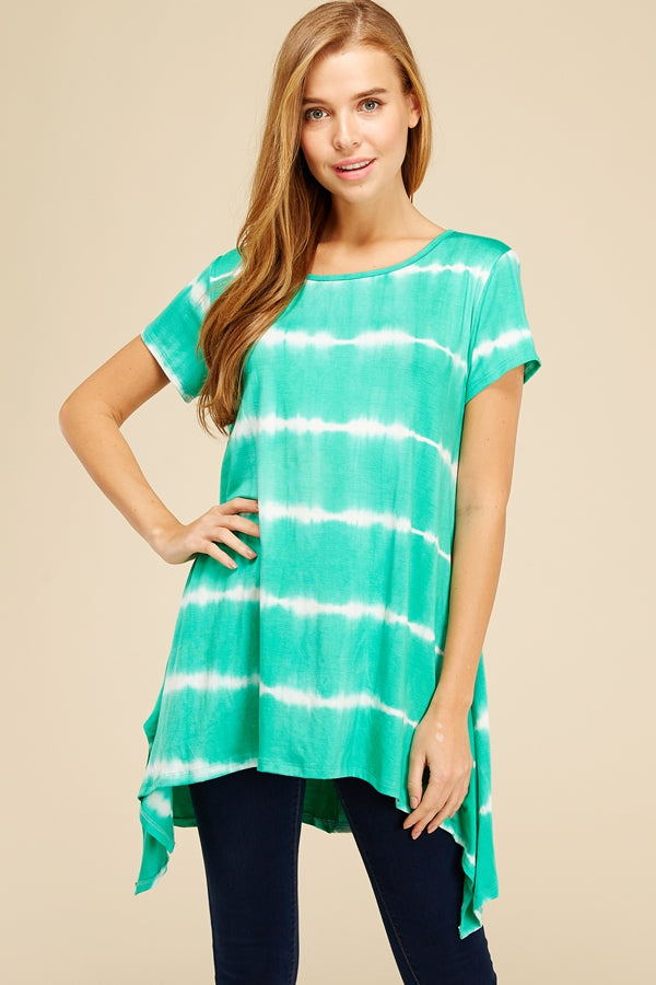 Along the Shoreline Tie Dye Tunic in Mint - Top - MIA Boutique LLC