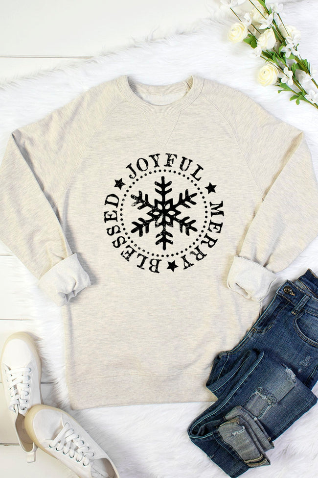 Blessed, Joyful and Merry Sweatshirt in Oatmeal