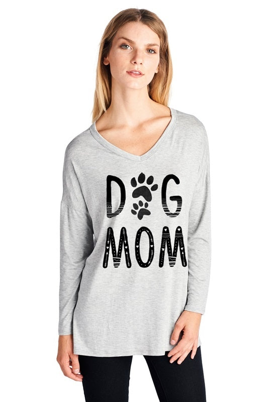 Dog Mom Tee in Heather Grey - MIA Boutique LLC