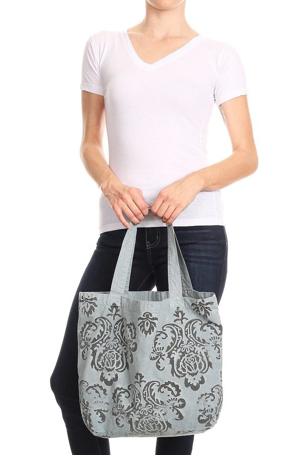Belle Fleur Hand Painted Tote -  - MIA Boutique LLC