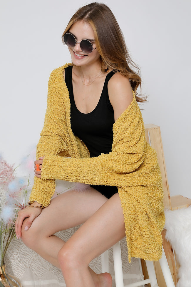 Away We Go Cardigan in Mustard - Top - MIA Boutique LLC