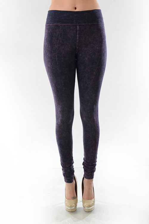 Mineral Washed Leggings in Denim Blue - MIA Boutique LLC
