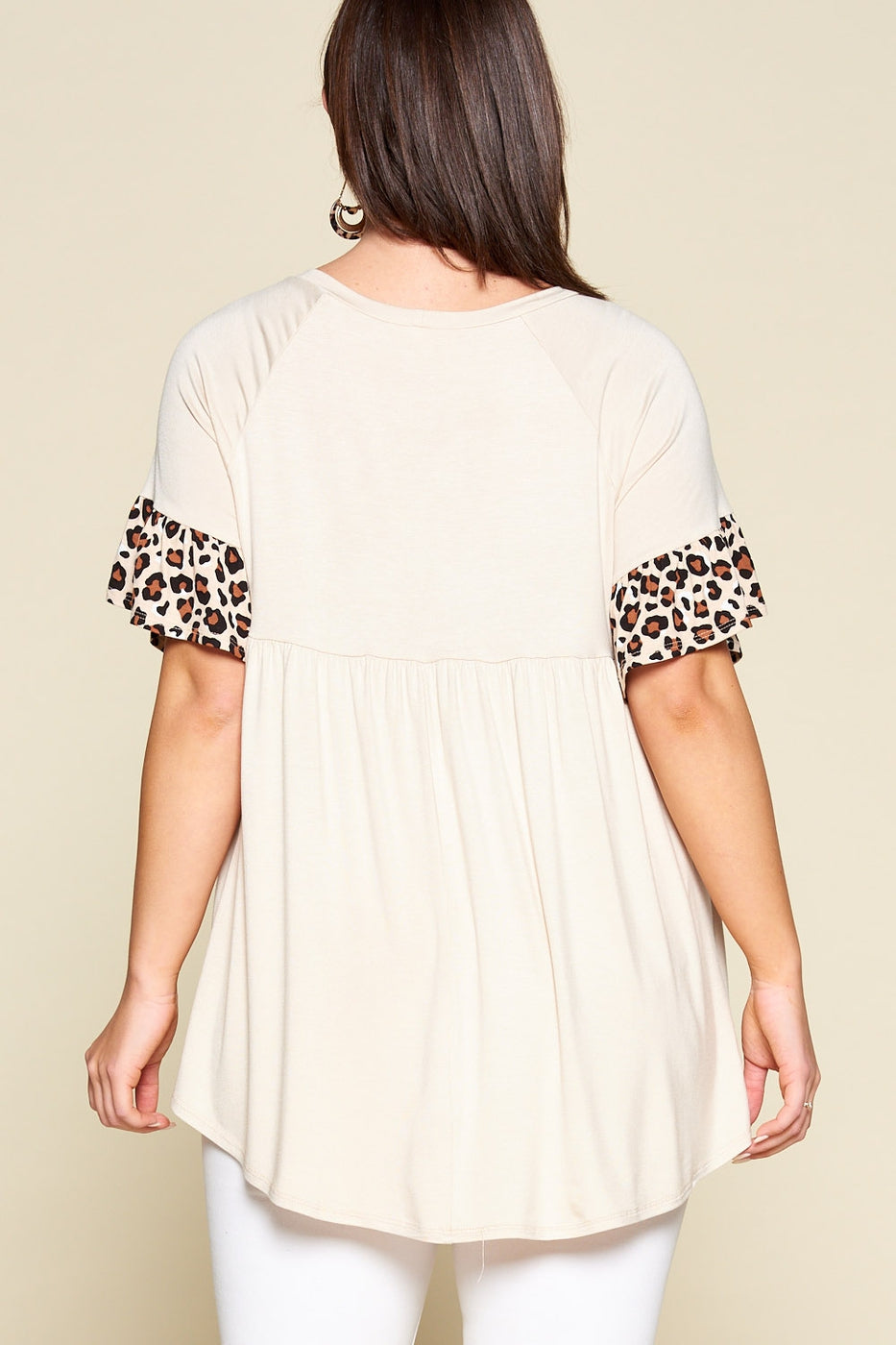 Sitting Pretty Leopard Print Babydoll Tunic in Beige - Curvy - Top - MIA Boutique LLC