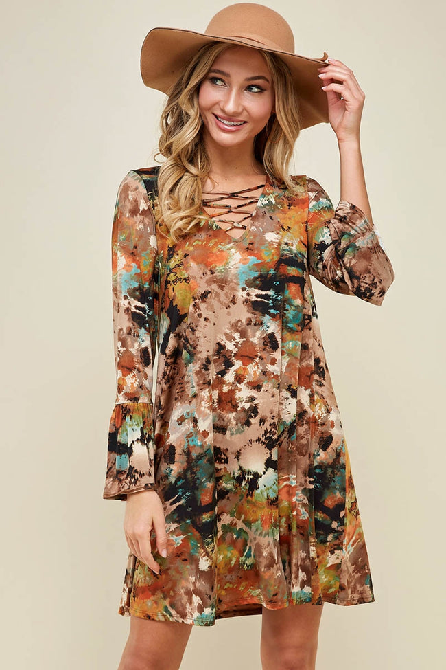Peace, Love, and Boho Tie Die Tunic Dress in Mocha - Dress - MIA Boutique LLC