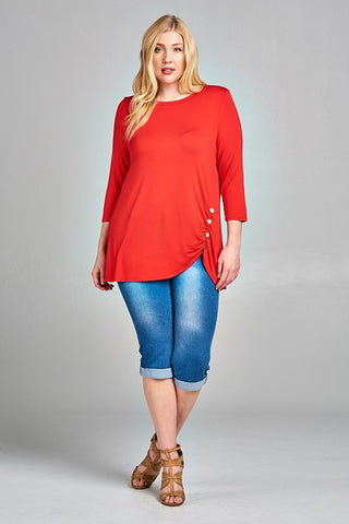 Twist and Shout Tunic in Burgundy - Curvy