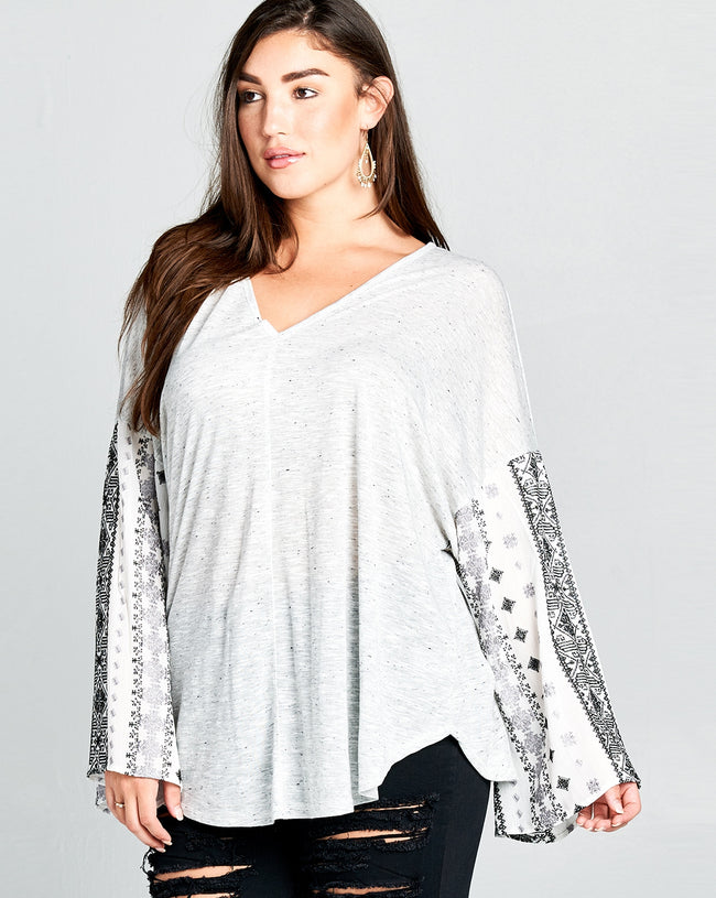 Crossing Paths Tunic in Heathered Grey, Black and White - Curvy - Top - MIA Boutique LLC
