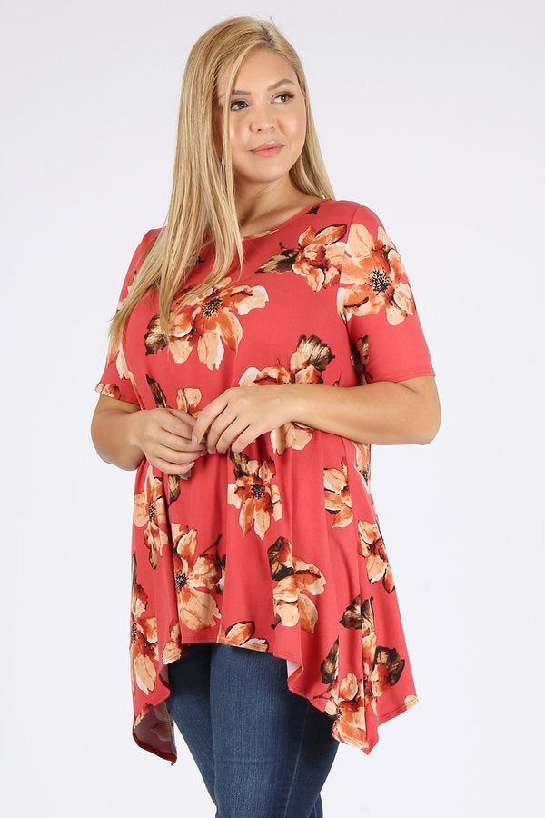 You're Corally Invited Tunic in Coral - Curvy - Top - MIA Boutique LLC