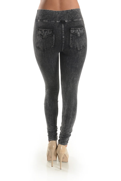 Mineral Washed Jeggings in Black