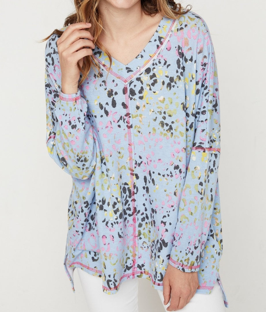 Making Things Happen Leopard Print Tunic in Light Blue