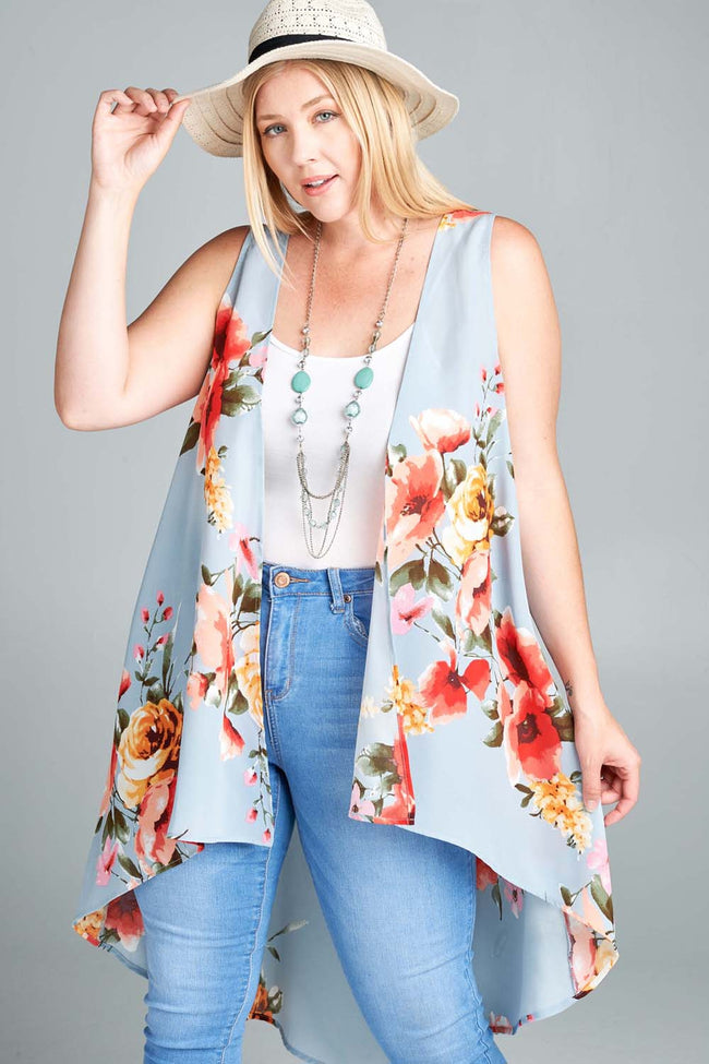 Talk of the Town Floral Vest - Curvy - Top - MIA Boutique LLC
