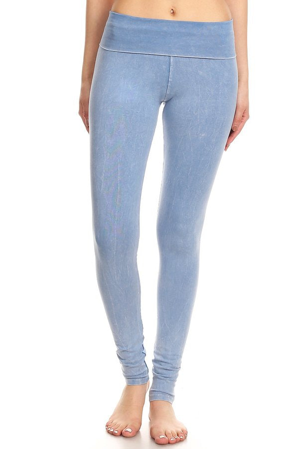 Mineral Washed Leggings in Light Denim - MIA Boutique LLC