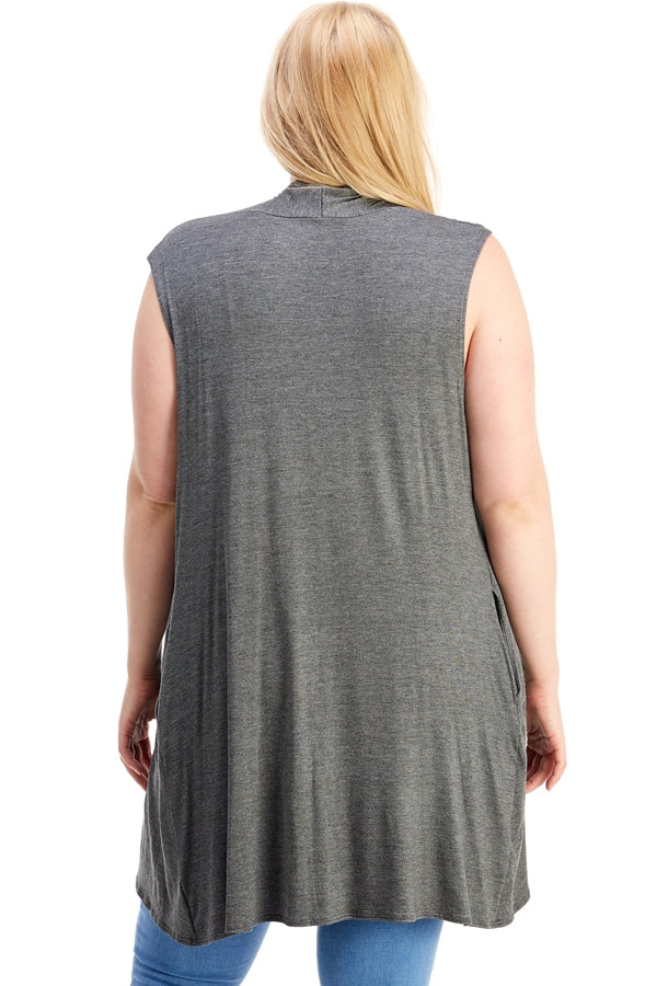 Flyaway Knit Vest in Charcoal Grey - Curvy - Top - MIA Boutique LLC
