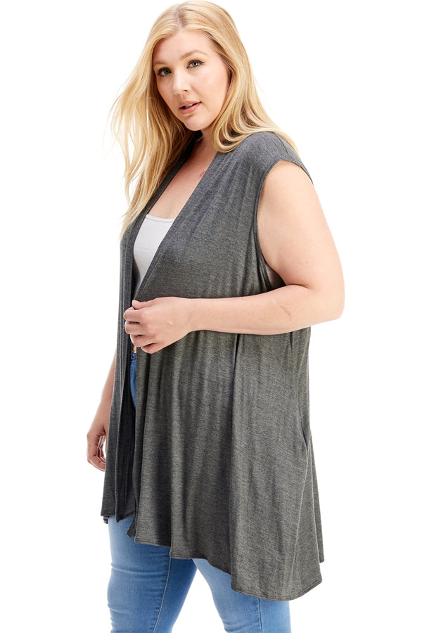 Flyaway Knit Vest in Charcoal Grey - Curvy