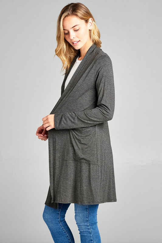 Pocket Caridigan in Charcoal - MIA Boutique LLC