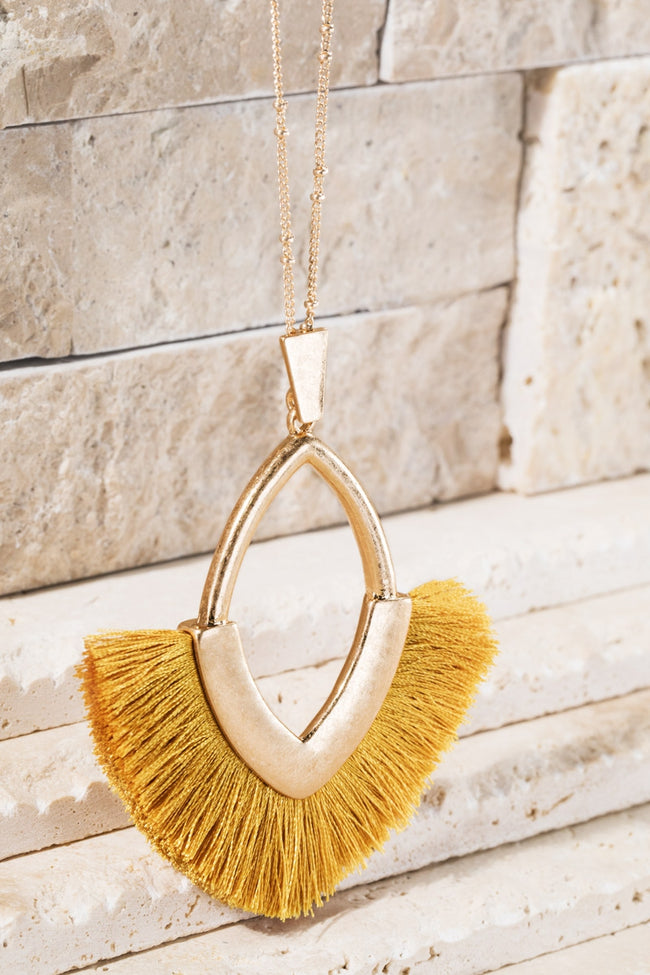 Need You Now Tassel Necklace in Mustard - Accessory - MIA Boutique LLC