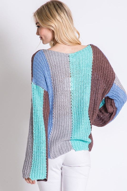 I'll Be There Color Block Sweater in Light Blue - Top - MIA Boutique LLC