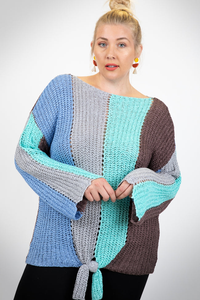 I'll Be There Color Block Sweater in Light Blue - Curvy - MIA Boutique LLC