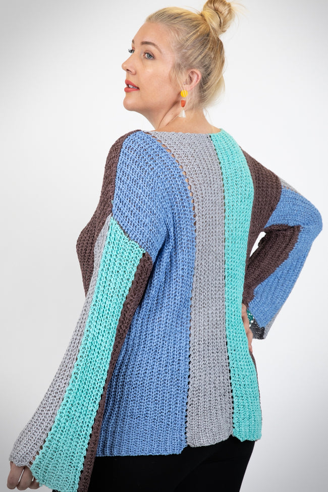 I'll Be There Color Block Sweater in Light Blue - Curvy - Top - MIA Boutique LLC