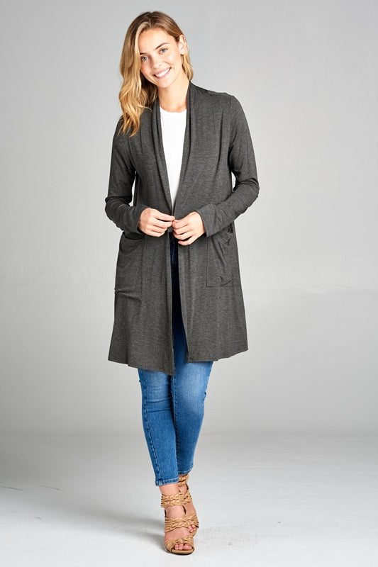 Ready, Set, Go! Cardigan in Charcoal - Curvy - Top - MIA Boutique LLC