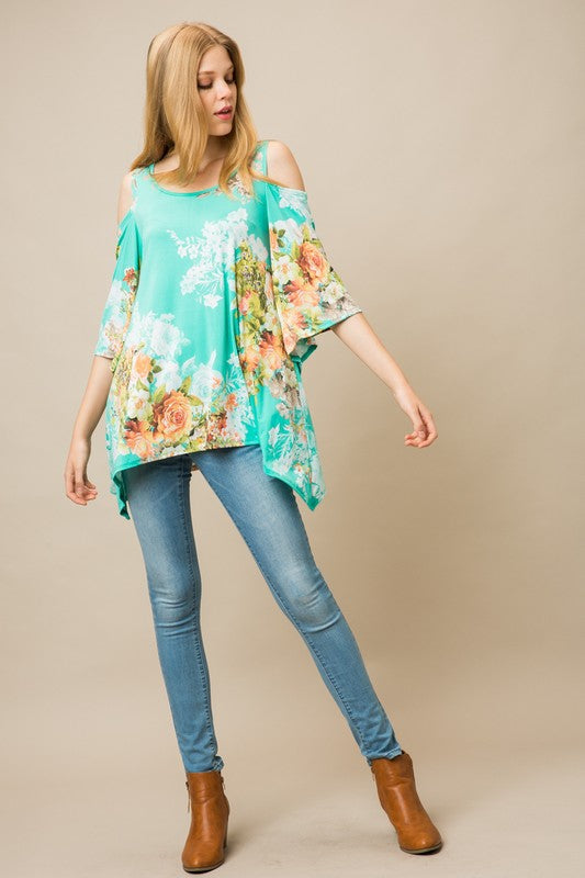 Dreaming of Spring Tunic in Mint - Curvy - MIA Boutique LLC