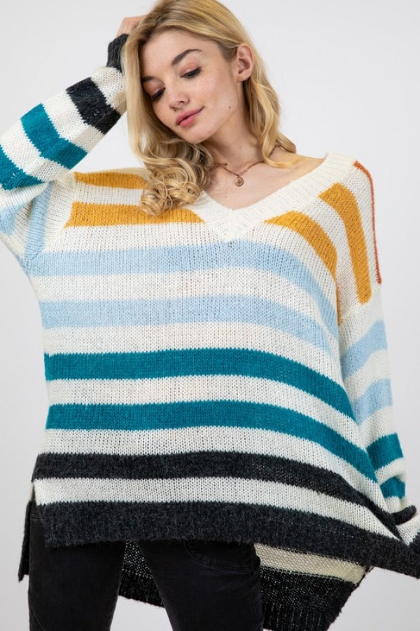 Autumn Horizons Striped Sweater - Top - MIA Boutique LLC