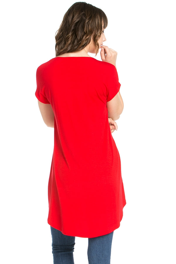 The Carol Tunic in Red - Top - MIA Boutique LLC