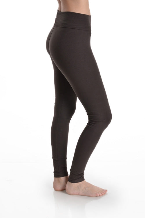 Folded Waistband Leggings in Brown - Bottom - MIA Boutique LLC