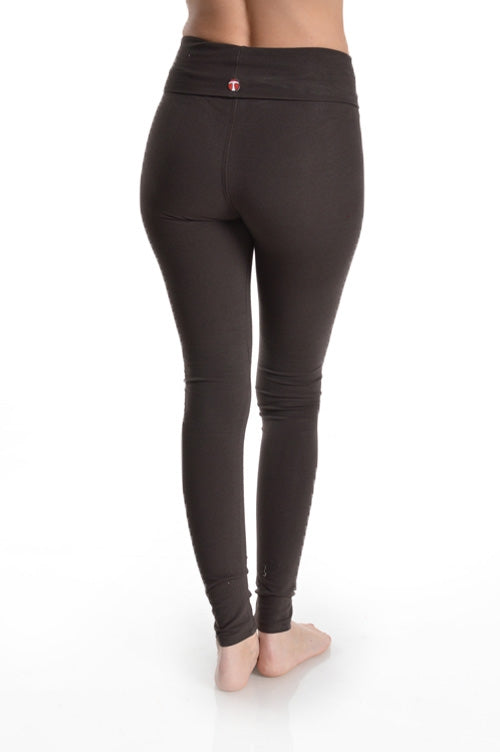 Folded Waistband Leggings in Charcoal - Bottom - MIA Boutique LLC