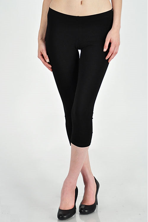 Basic Capri Length Leggings in Brown - Bottom - MIA Boutique LLC