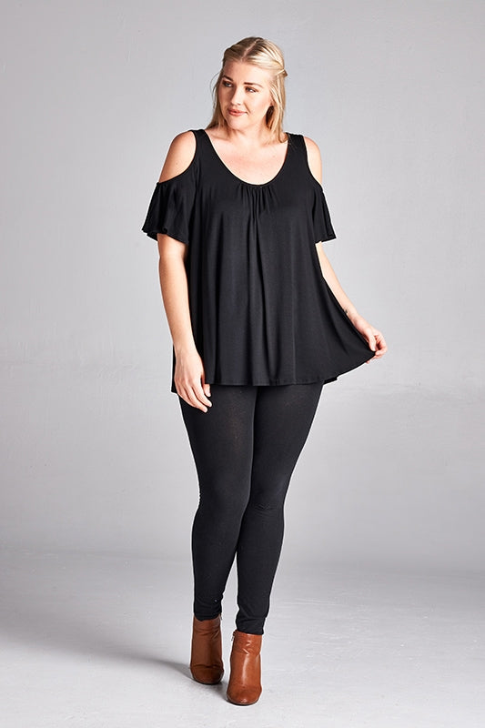 It Girl Cold Shoulder Top in Black - Curvy - MIA Boutique LLC