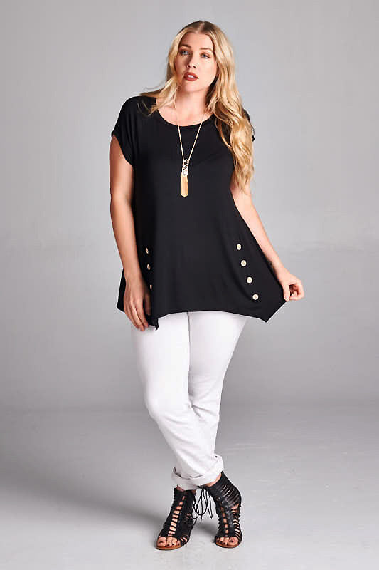 Bright as a Button Tunic in Black - Curvy - Top - MIA Boutique LLC