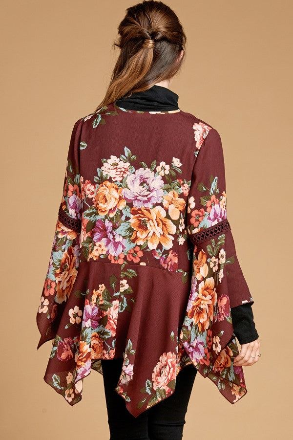 Season of Change Kimono in Burgundy Floral - MIA Boutique LLC