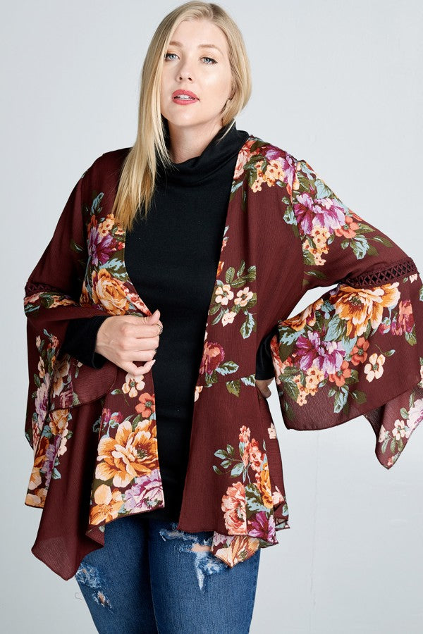 Season of Change Kimono in Burgundy Floral - Curvy - MIA Boutique LLC