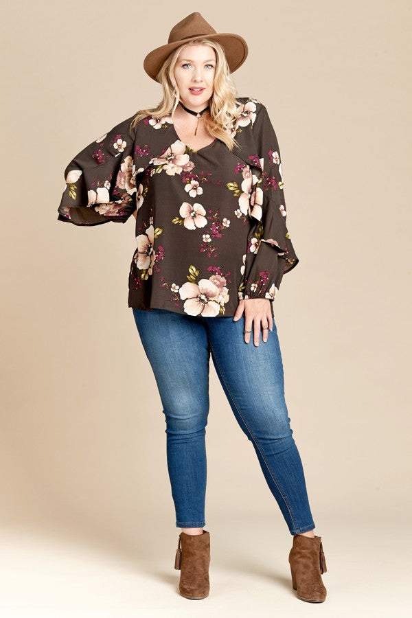 Autumn in the Air Floral Top in Olive - Curvy - Top - MIA Boutique LLC