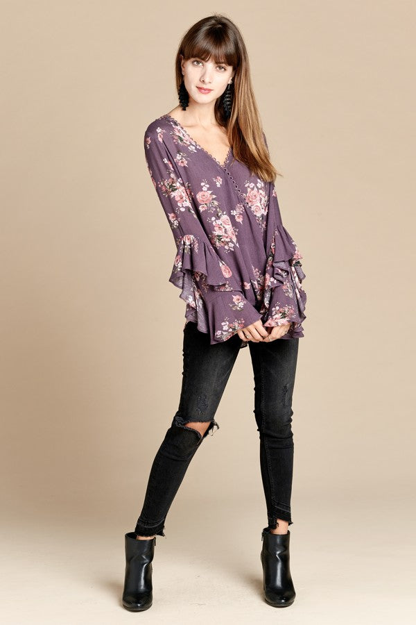Stay With Me Floral Blouse in Lavender - MIA Boutique LLC