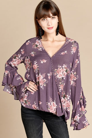 Season of Change Kimono in Burgundy Floral